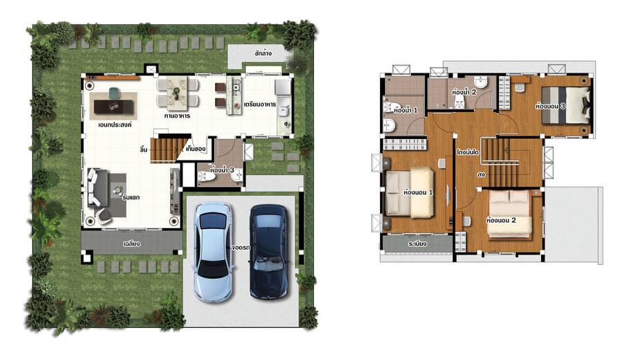 แปลนบ้านแฝด 2 ชั้น โครงการบ้านวนาอินทาวน์